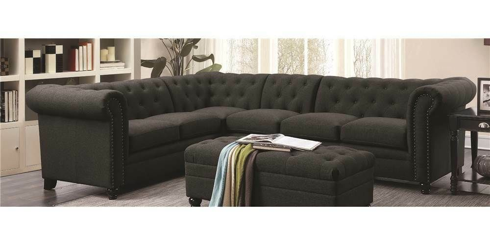 Button Tufted Sectional Sofa In Gray Id 3756397 Grey Sofas Ideas Of Grey Sofas Grey In 2020 Tufted Sectional Sofa Sofas For Small Spaces Modern Couch Sectional