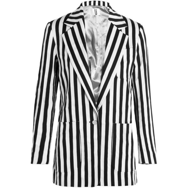 Topshop Unique - Harleyford Striped Cotton-blend Blazer ($170) ❤ liked on Polyvore featuring outerwear, jackets, blazers, black, stripe jacket, striped jacket, white jacket, white striped blazer and white blazers