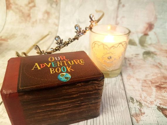 Our Adventure Book Luxury Wedding Ring Box Up Wedding Double Ring