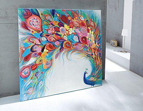 farbenfrohes xl bild pfau acryl auf leinwand bunt: amazon