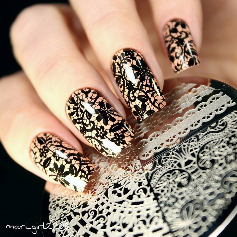 Geboren Ziemlich Schicke Spitze Muster Nail art Stamping Schablone ...