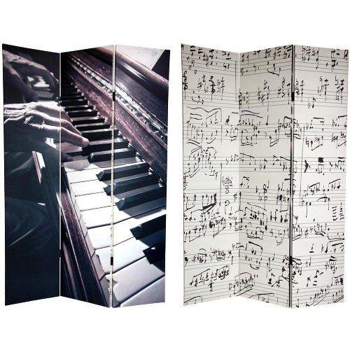 Oriental Furniture Unique Decorative Folding Floor Screen, 6-Feet Tall Double Printed Music Photo Art Print Room...