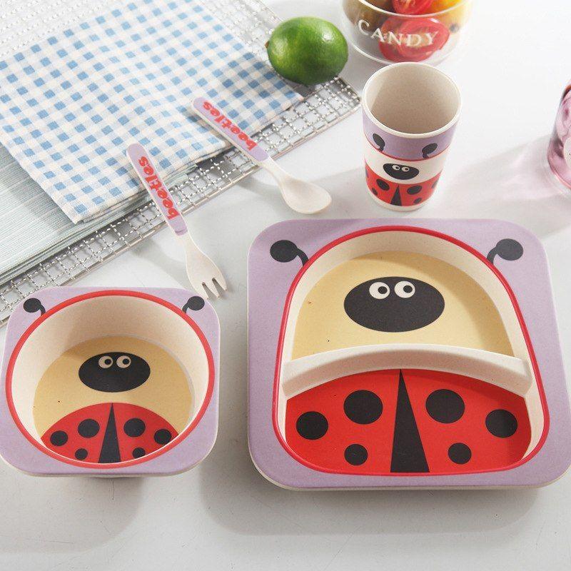 Natural Bamboo Fiber Tableware Set For Kids 5pcs Sets Baby Gear City Kids Dinner Sets Tableware Set Biodegradable Products