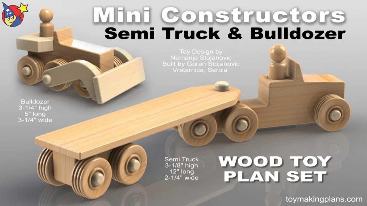 wood toy plans - mini semi truck and bulldozer | wood