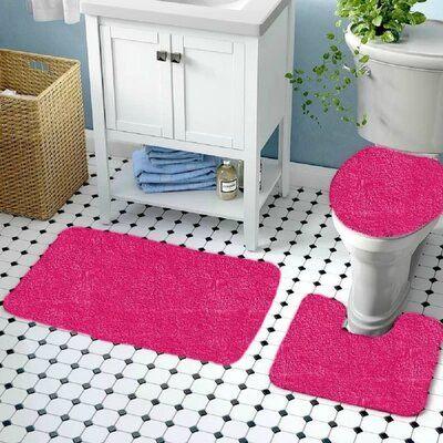 Symple Stuff Shawnna 3 Piece Bath Rug Set Pink Bathroom Rugs Cotton Sets