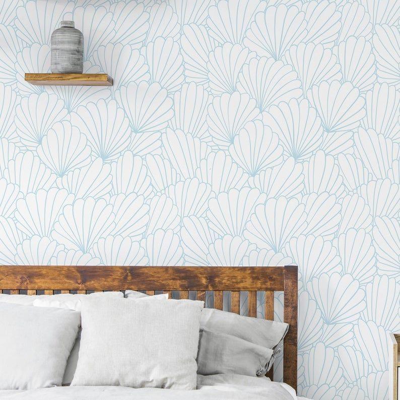 Shells Wallpaper Removable Wallpaper Wallpaper Peel And Etsy Removable Wallpaper Coastal Wallpaper Cottage Wallpaper