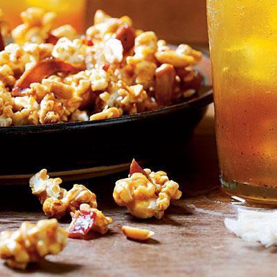 Sorghum Caramel Corn | Add a caramel chewiness to already-delicious bacon-caramel corn. | SouthernLiving.com