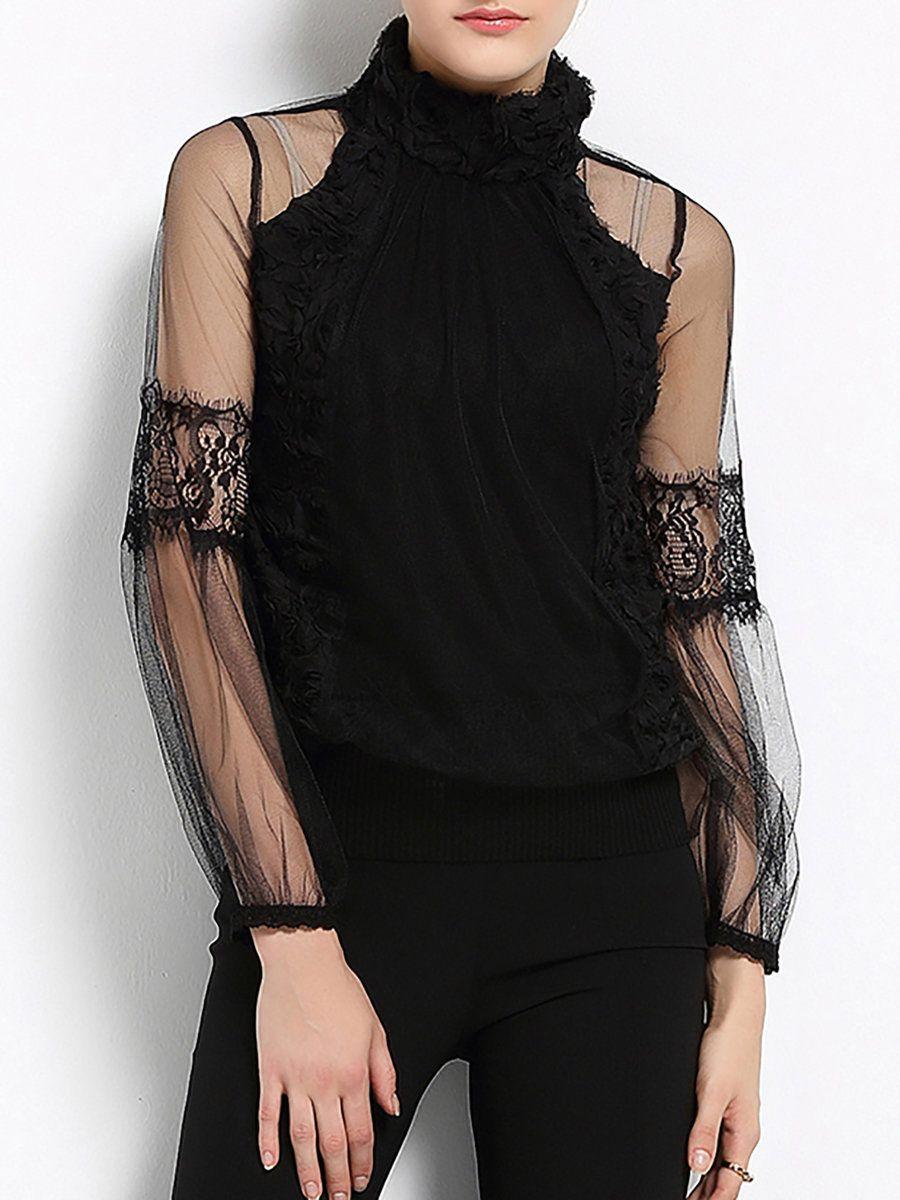 Adorewe stylewe sfeishow black seethrough look turtleneck mesh