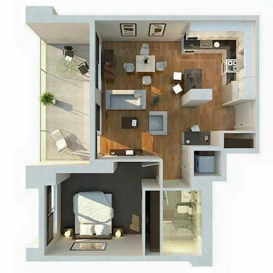 One Bedroom Apartment Plans And Designs Entrancing Pinlusiana Julianti On Small House  Pinterest  Smallest Design Inspiration