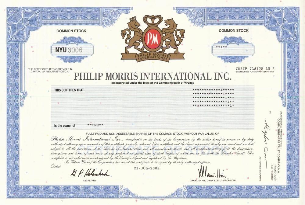 Philip Morris International Stock Certificate 2008 Scripophily - stock certificate template