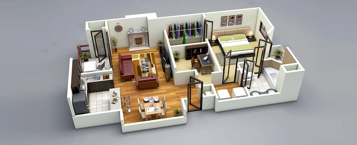 25 One Bedroom House Apartment Plans One Bedroom House 3d Home Design One Bedroom