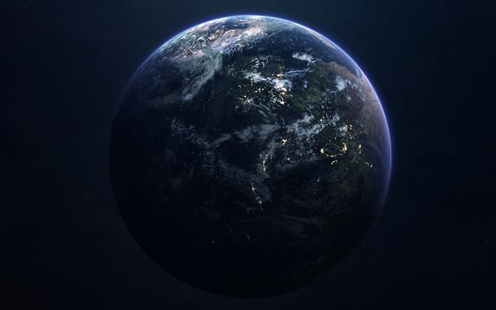 Scarica Sfondi Terra Pianeta La Notte I Continenti Gli Oceani