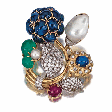 Gem-set and diamond brooch, Seaman Schepps