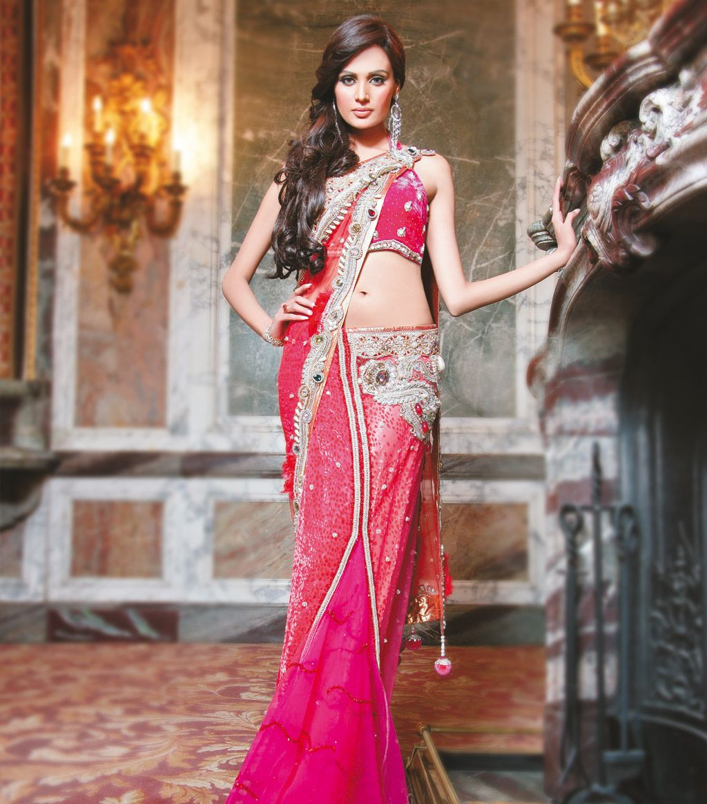 For the reception fushia and coral concept saree bridesmaids