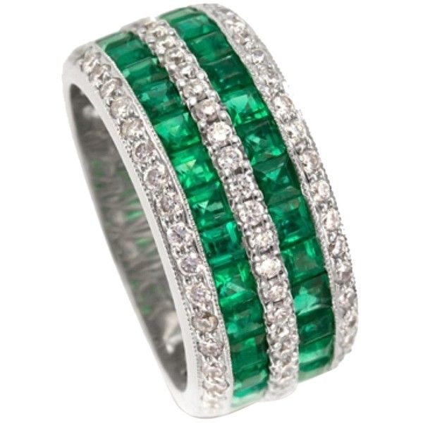 Pre-owned Emerald And Diamond Ring - Gregg Ruth #040543 (1,930 CAD) ❤ liked on Polyvore featuring jewelry, rings, accessories, emerald and diamond, emerald green jewelry, green diamond jewelry, 18 karat gold ring, pre owned jewelry and emerald diamond ri