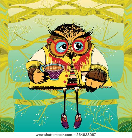 Owl on a tree drinking tea. Cute character Owl. Concept animal. Little animal in forest - stock vector