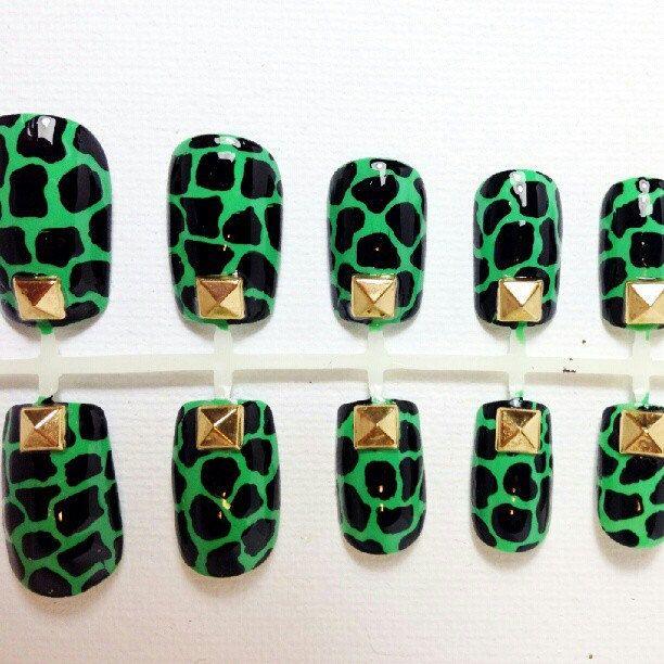 Dinosaur print (green) with studs nail art design | Makeup & Nails ...