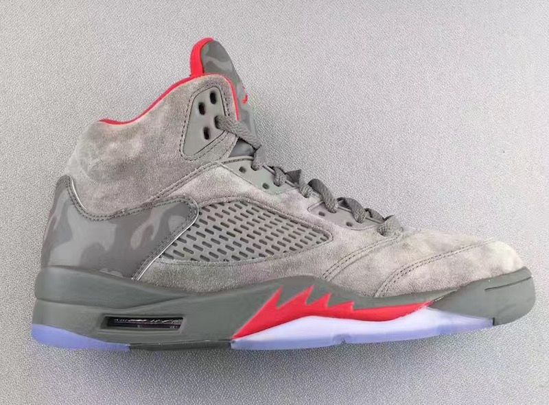 Air Jordan 5 Camo Release Date. This Air Jordan 5 features a suede upper  with Reflective Camouflage on the tongues and heel, along with Red accents