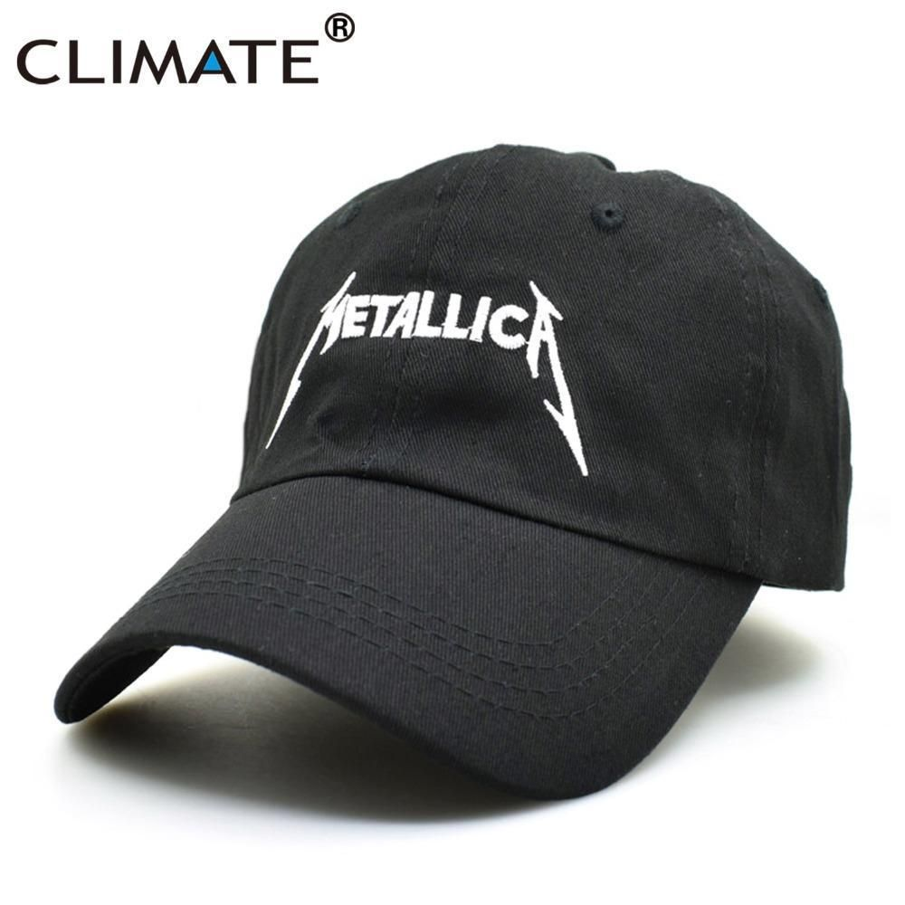 5fde3d6db76 CLIMATE Women Men Cool Rock Black Baseball Caps Metallica Band Fans Cap  Metal Ro