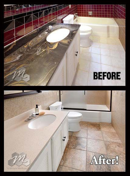 Cultured Marble Before And After Vanities Wwwmiraclemethodcom Countertop Refinishing