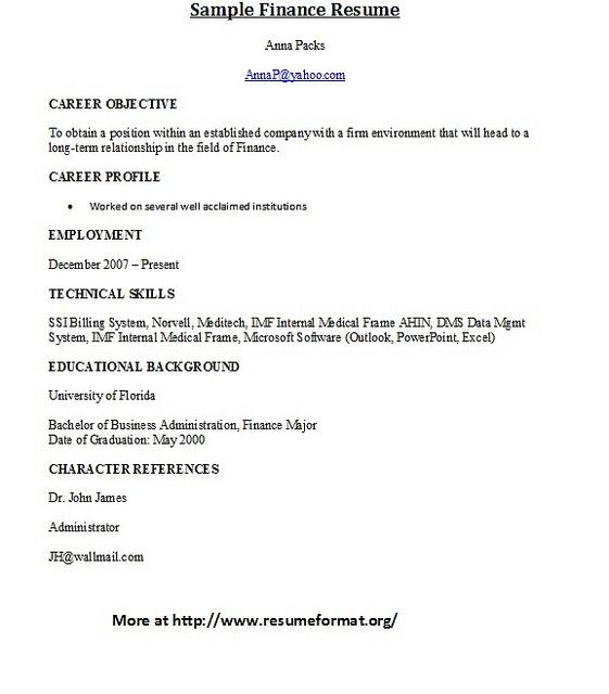 For more finance sample resume formats visit wwwresumeformatorg - html resume format