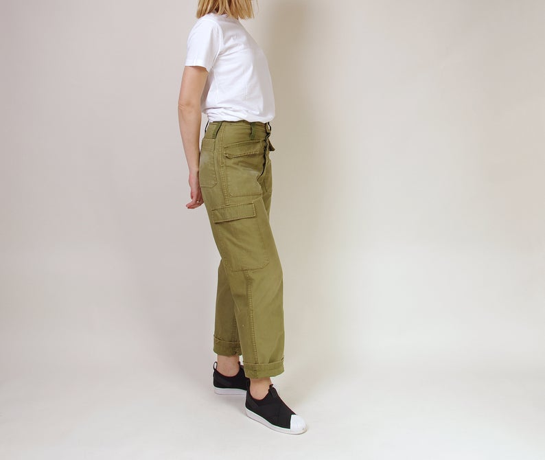 70s High Waisted Army Pants, Vintage Cargo Military Pants
