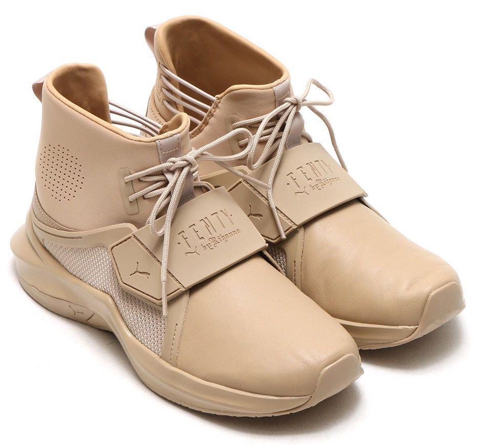 9029011f607 Puma x Fenty Rihanna Trainer Hi by Fenty Mens Sesame Shoes Brown  PUMA   Sneakers