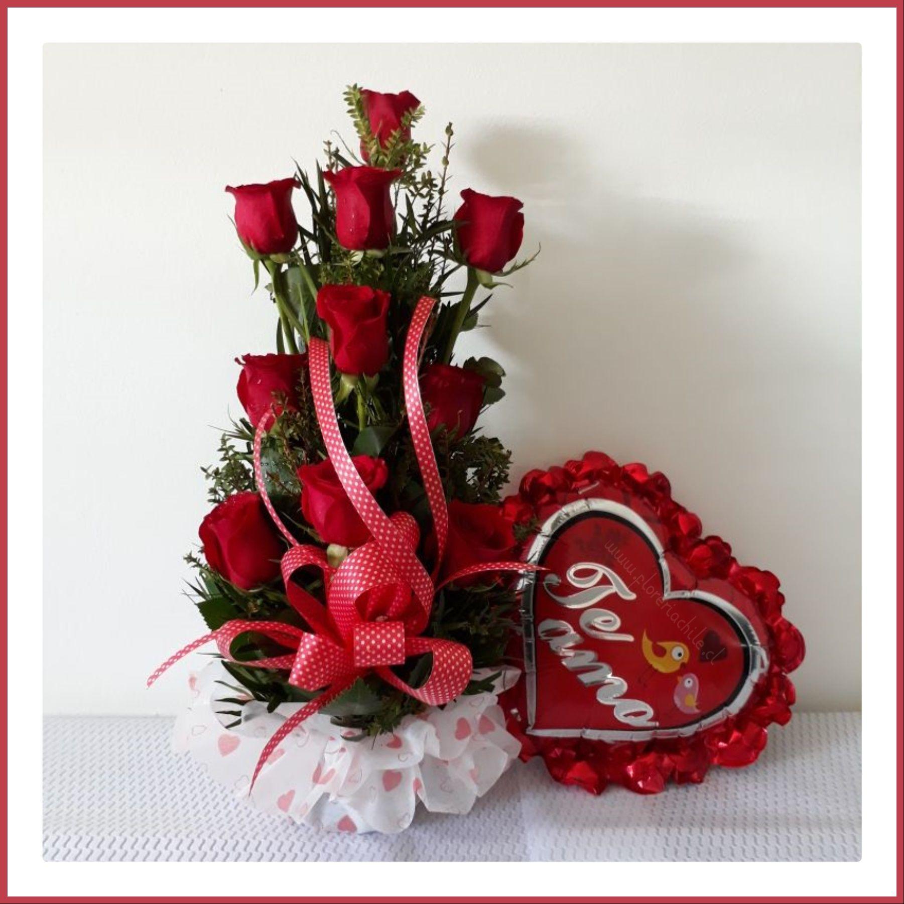 Hermoso Arreglo Floral Con 10 Rosas Rojas Importadas Globo