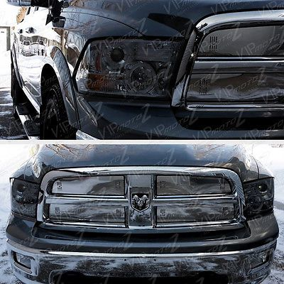 details about 2009 2018 dodge ram 1500 2500 3500 smoke halo led2009 2017 dodge ram 1500 2500 3500 smoke halo led projector headlights lamp pair