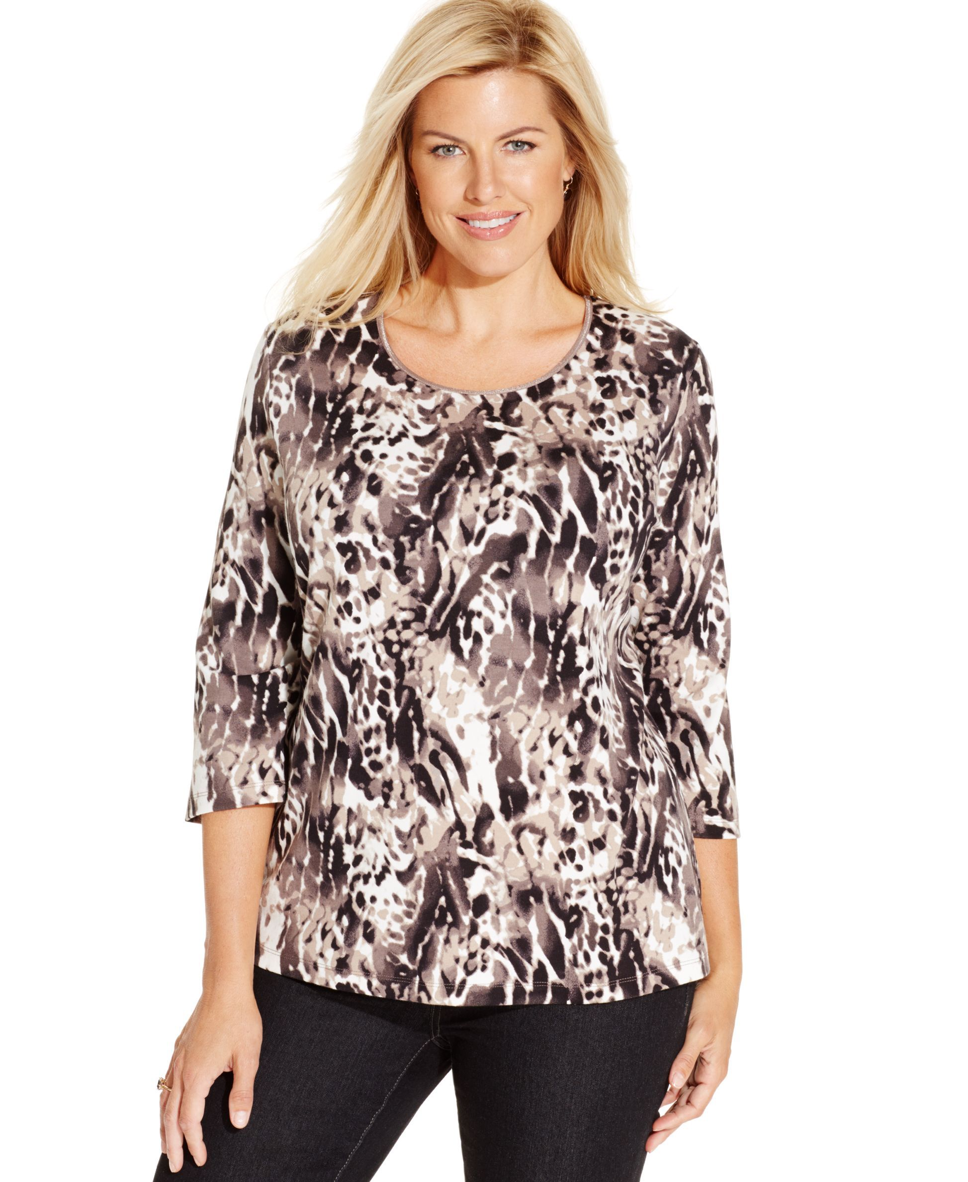 JM Collection Embellished Printed Tunic Top, Only at Macy