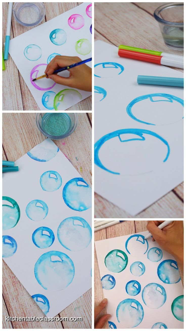 How to Draw Bubbles with Washable Markers - The Kitchen Table Classroom - Draw realistic bubbles w