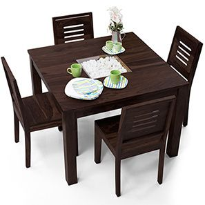 Buy Zuari Dining Table Set 4 Seater Wenge Finish