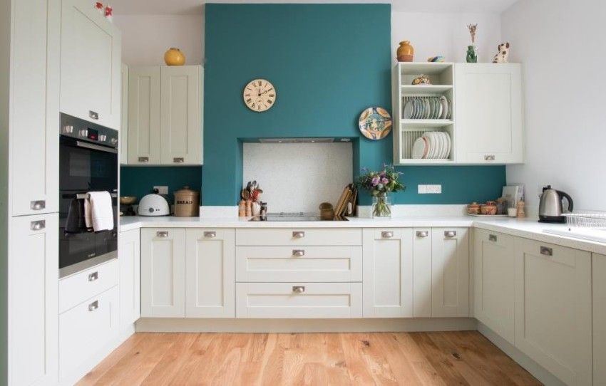 Lovely teal blue wall in mint shaker kitchen   Kitchen Inspiration ...