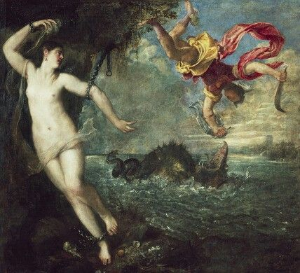 Titian Perseus And Andromeda 1554 56 Perseus First Meets His Wife To Be Here And In Hertford House Arte Rinascimentale Rinascimento Italiano Arte Classica
