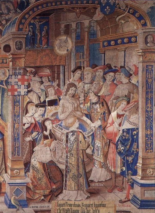"""Saint Remi, XVe archevêque de Reims,  """" Le  Baptême de Clovis """", tapisserie du 16°s conservée au musée de Rime: la conversion du roi franc au catholicisme, à Tours en 496, est attribuée à son épouse Clothilde et à saint Rémi, éveque de Tours. Clovis se serait fait baptiser à Reims, au palais du Tau."""