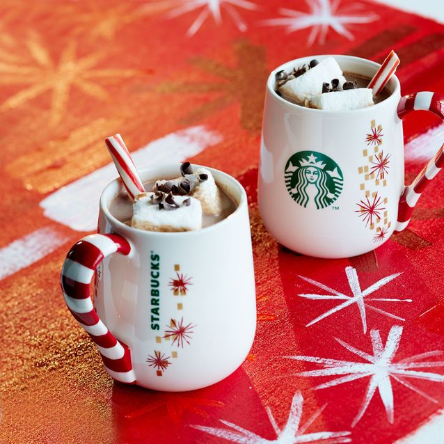 This glossy coffee mug with the red-and-white striped handle inspires warm, happy feelings you will cherish this Christmas and the whole year through.