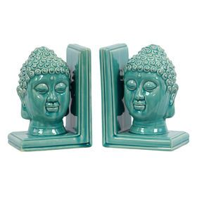 Turquiose Buddha Head Bookends - 8 in.  (sold separately)