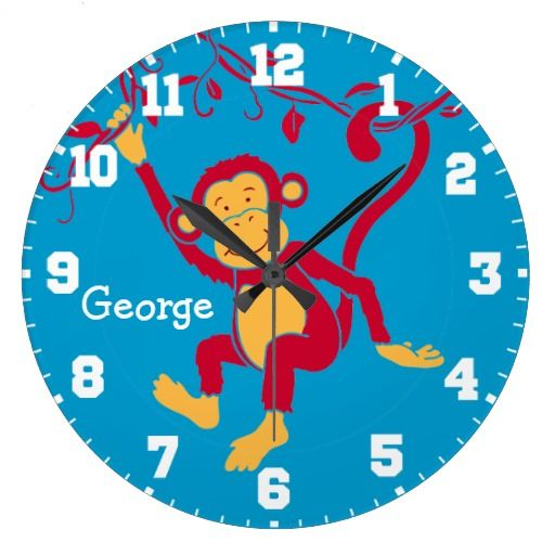 Fun Kids Name Monkey Red Blue White Wall Clock Zazzle Com White Wall Clocks Wall Clock Clock