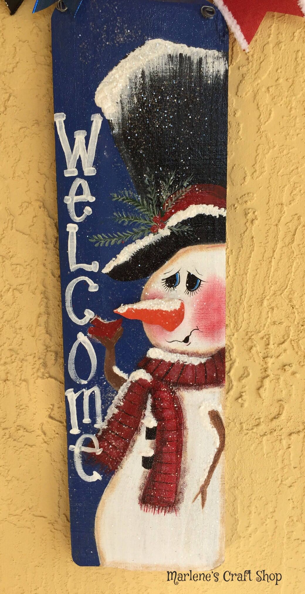 Snowman Sign Welcome Sign Farmhouse Christmas Decoration