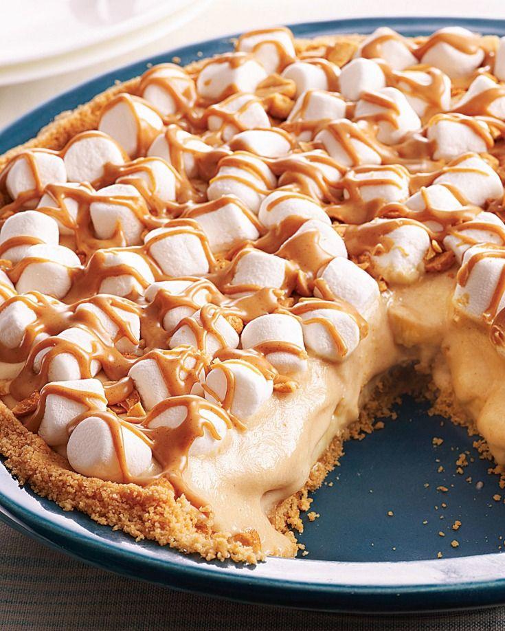 No Bake Peanut Butter Banana Pie #bananapie