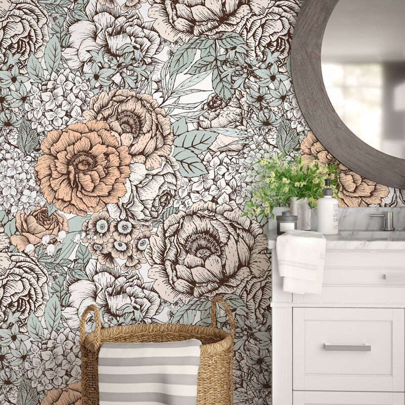 Noriega Removable Vintage Bouquet Flowers 8 33 L X 25 W Peel And Stick Wallpaper Roll Peel And Stick Wallpaper Wallpaper Roll Vintage Bouquet