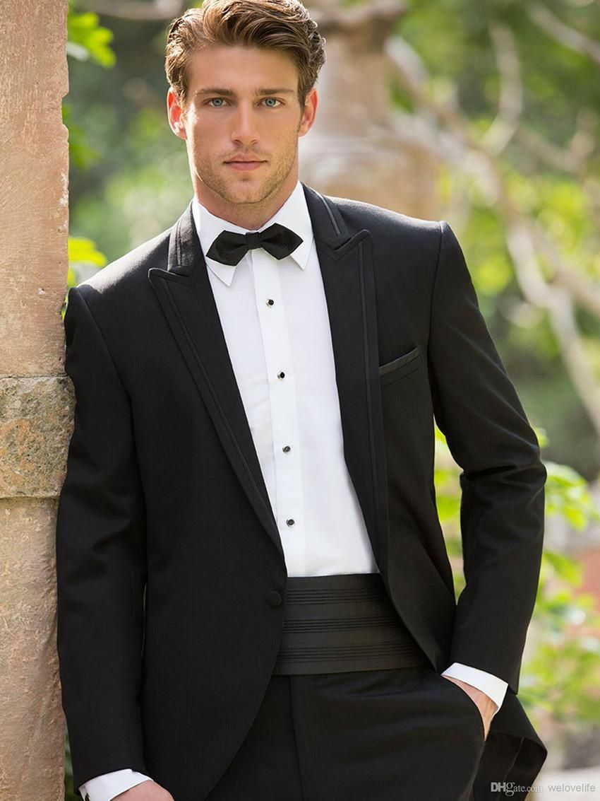 New arrival handsome black groom tuxedos one button best man wedding