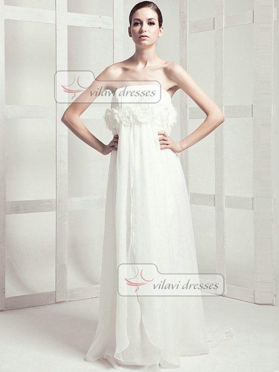 Schöne Spalte Chiffon Kleid Sweep Blume Hochzeit Brautkleider
