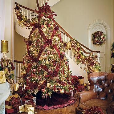 Frontgate Burgundy Gold Christmas Tree Love The Basket Weave Ribbon
