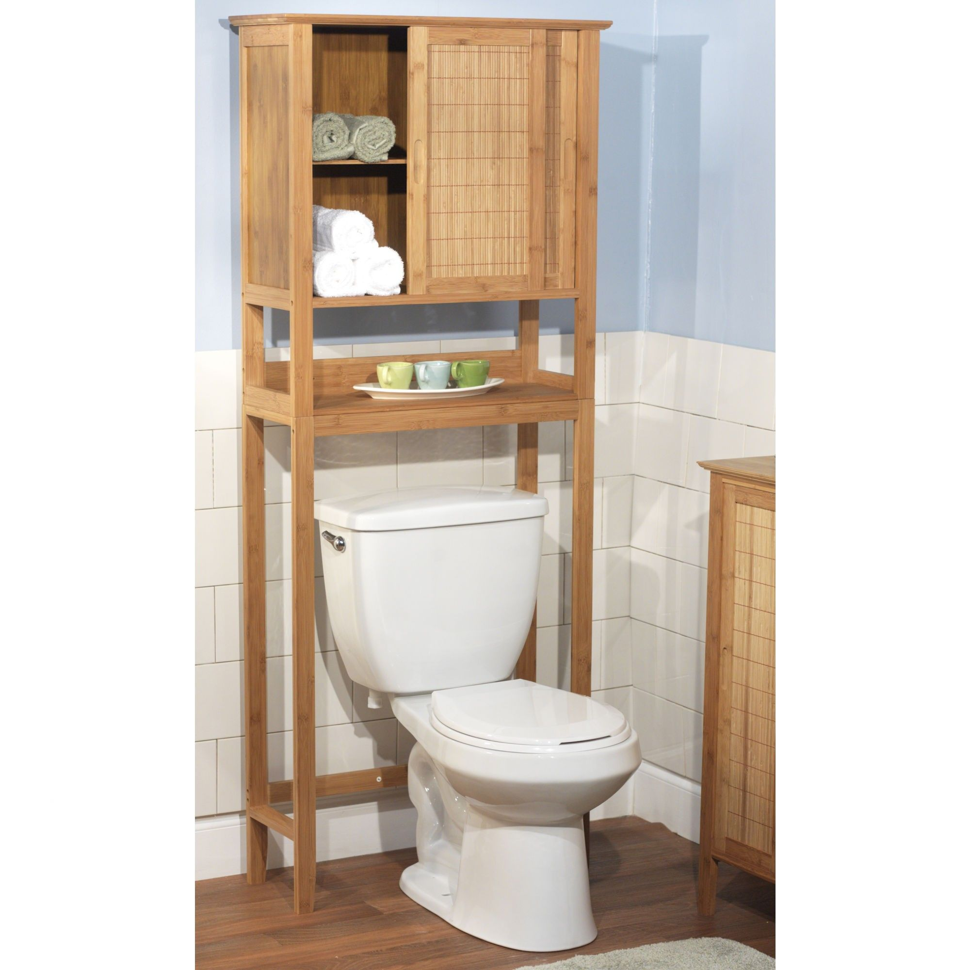 Superb Rustic Bathroom Space Saver Over Toilet Wood With Subway Tile Wall Style  And Laminate Flooring Ideas