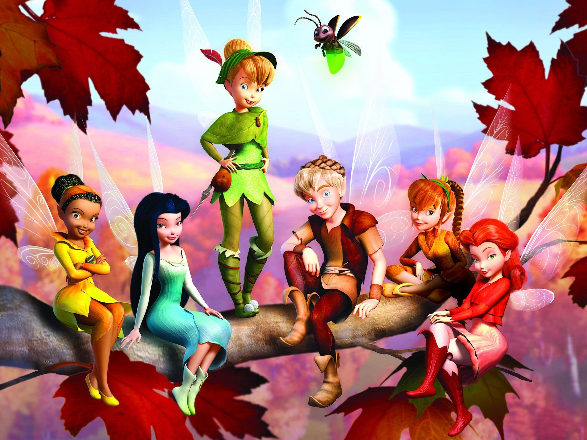 Tinkerbell  Rossetta (nature talent fairy- plants sproutlets)   Silvermist (water talent fairy-puts dew on spiderwebs)  Irridessa (light talent fairy-makes rainbows/lights fireflys)   fawn (helps birds learn how to fly)  and Terrence (fairy dust keeper).