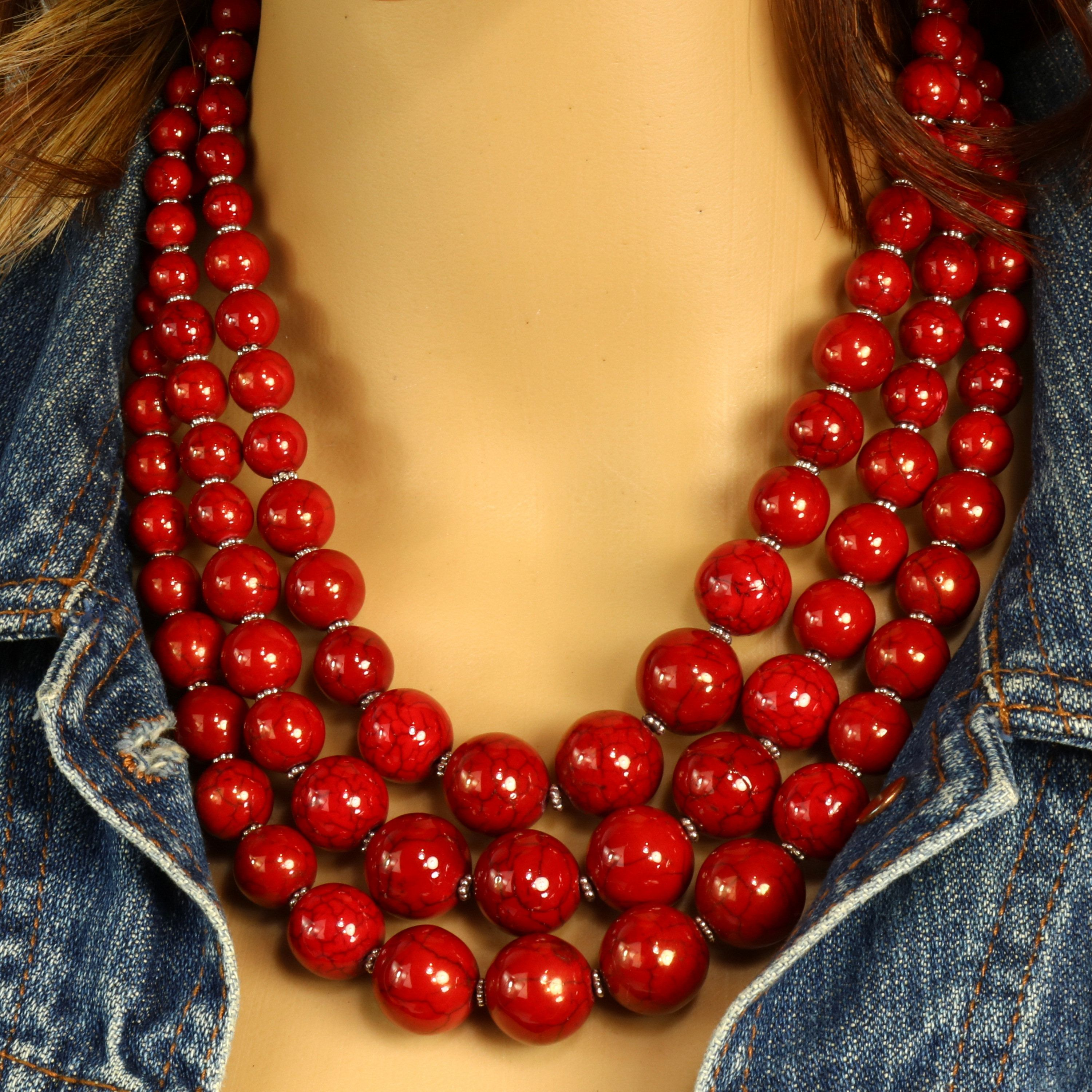 Bridesmaid Jewelry Red Turquoise Necklace Red Statement Necklace Red Graduated Necklace Beaded Red Necklace Red Beaded Necklace