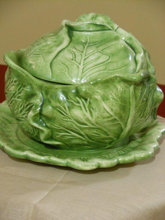 Holland Mold Cabbage Bowl w  lid bonus Celery Plate