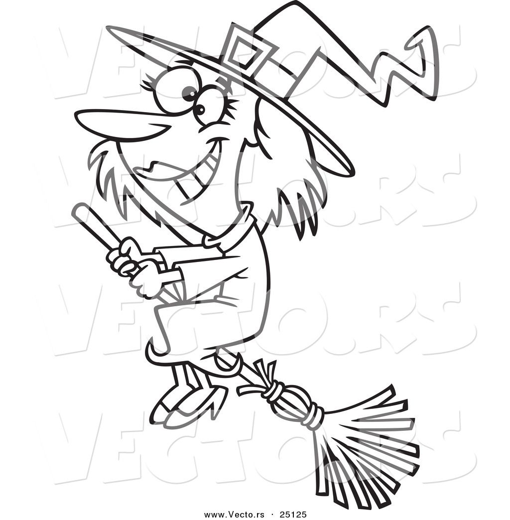 Vector Of A Cartoon Happy Halloween Good Witch Flying On A Broom