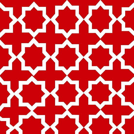 Red and White Lattice Pattern:Saundramylesart